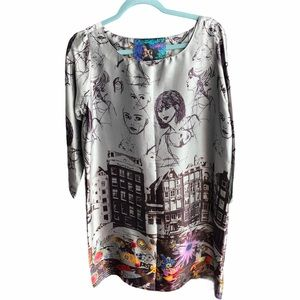 Desigual tunic/mini dress silky artistic design 8